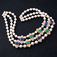 Layering Necklace Pearl Oval Charms Choker Collar Elegant Wedding Dress Jewelry