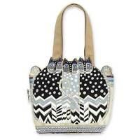 Polka Dot Feline Laurel Burch Small Cutout Canvas Tote Handbag