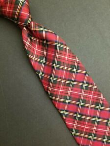 Classic Brooks Brothers Makers Italian Silk Tie Red Tartan Plaid Made in USA