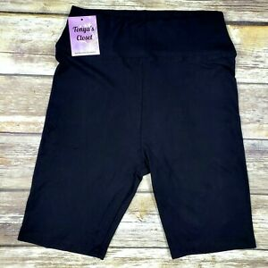 PLUS Solid Black Biker Shorts YOGA Waistband Buttery Soft 10-18 TC