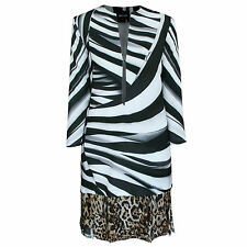 JUST ROBERTO CAVALLI $1,270 zebra striped deep v-neck leopard print dress 40 NEW