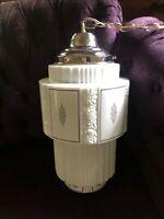 Antique Art Deco Skyscraper Cake Tier Glass Light Shade Fixture Chandelier 1930