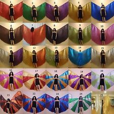 Wholesale 4 Egyptian Professional Belly Dance Lame Isis Wings + Bag& Sticks