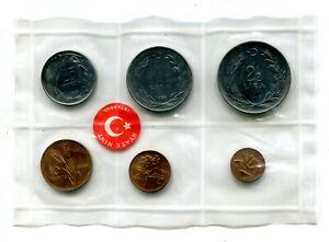 Turkey 1, 5, 10 & 25 Kurus, 1, 2½ Lira 1965 Original Mint Set BU (6 pcs)