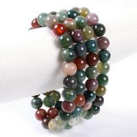 Fashion 8mm Indian Multicolor Agate Round Gemstone Beads Elastic Bracelet 7.5''
