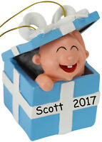 Tree Buddees Babys First Christmas Present Ornament Personalizable Baby Blue Boy