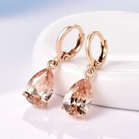 Womens Pear Champagne Topaz Crystal 18K Yellow Gold Filled Hoop Dangle Earrings