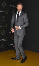 Men Gray Suits Celebs David beckham Style Suit Wedding Party Wear (Coat+Pant)