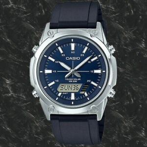 NEW Casio AMW-S820-2A Men's Tough SOLAR Watch Digital Analog BLUE Resin Band