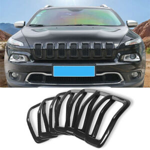 For 2014-2018 Jeep Cherokee Black Front Grille Grill Inserts Ring Cover Trim Kit