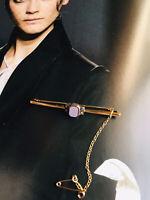 C.30s Art Deco Maker H.G. & S FINE 9ct gold silver agate brooch diamond paste