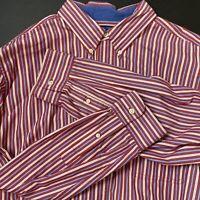 Chaps Ralph Lauren Mens Blue Red White Stripped Button Down Dress Shirt Size XL
