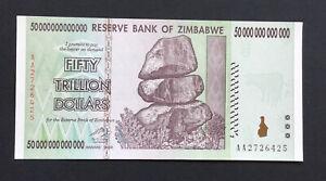 1 X 50 Trillion Dollar Zimbabwe Note.