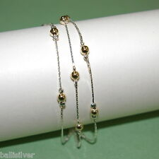 3 pieces Sterling Silver 925 & Gold Filled Beads 3 Strands Two Tone BRACELETS