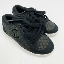 DC Shoes Girls Youth Size 12 Black Quilted Sneakers Lace-Up