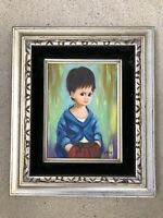 Vintage Big Eye Painting Sad Street Urchin Boy Child Portrait Signed