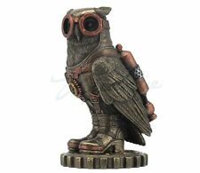 Steampunk Owl Statue with Jetpack on Gears Sculpture Figure - GIFT BOX