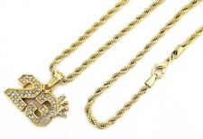 "24"" 4mm Rope Chain Hip Hop Necklace 7485 14K Gd Pt Crowned Legend Jordan #23 w"