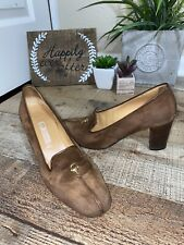 "Vintage 70s 80s Gucci Authentic Brown Suede Pumps Size 37B Italian 2.5"" Heels"