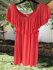 Studio Woman JPR 1X Hot Coral Layered Butterfly Sleeve Knit Blouse Top NWT