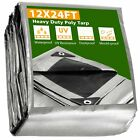 12x24 Heavy Duty Poly Tarp Canopy Tent Cover Shelter Reinforced Tarpaulin 10mil