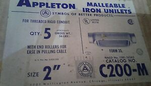 """C200M APPLETON  2"""" TYPE C MALL. CONDULET WITH K200CM MALLEABLE COVER LOT 0F 10"""