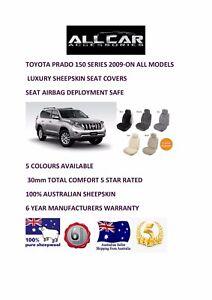 Sheepskin Car Seatcovers for Toyota Prado 150 Series Seat Airbag Safe 30mm