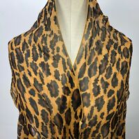 "VTG Scarf Leopard Print Sheer 69""x 14"" Cheetah Brown Black"