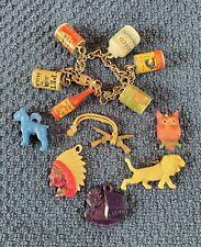Vintage Cracker Jack Gumball Vending Charm Bracelet Food & Misc Charms LOT
