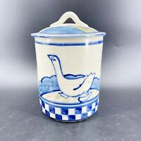 Vintage Stoneware Salt Glazed Crock Cookie Jar with Lid Checkered Goose Duck 9""