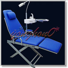 Portable Dental Mobile Chair + LED Surgical Light + Tray + Waste Basin Blue