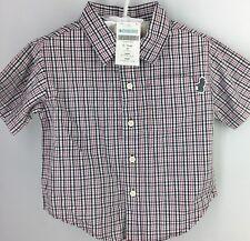 Boy's Shirt GYMBOREE Button Front Plaid BURGUNDY BLACK WHITE Short Sleeve 12-18