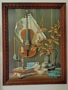 vintage PBN Paint By Number BEAUTIFUL violin still life