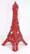 RED GLITTER EIFFEL TOWER CHRISTMAS TREE ORNAMENT HOLIDAY PARIS DECOR NEW!