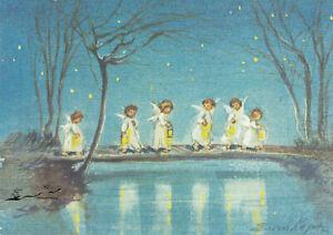 Postkarte: Erica von Kager - Sechs Engel mit Laternen auf einer Brücke
