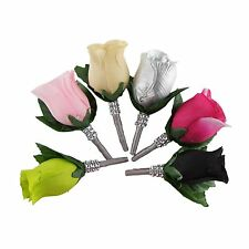 Boutonniere/buttonhole/wedding/groom/prom *PICK rose COLOR* rhinestone