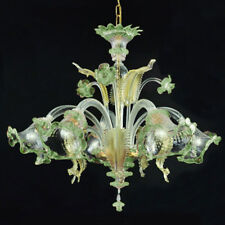 Murano chandelier Ca'Venier ceilling 5 arms green crystal gold