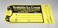 SUNBURY, PA  VINTAGE KEITHAN'S ICE CREAM DELIVERY TAG
