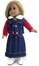 Denim Long Pleated Skirt, Vest, & Top for 18 inch American Girl Doll Clothes