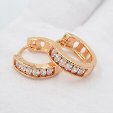 18K Yellow Gold Filled Clear Oval Marquise Mystic Topaz Huggie Earrings Jewelry