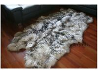 White black quad sheepskin rug carpet soft wool