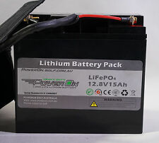 POWER ON Lithium 12.8V 15Ah Heavy Duty Battery & Charger LiFePO4 Golf Buggy