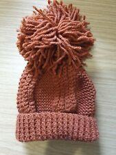Terracotta Wool Knitted Bobble Hat