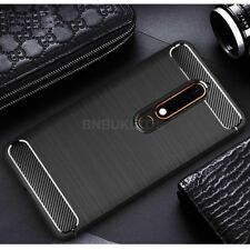 For Nokia 6 (2018) Carbon Fibre Gel Case Cover & Glass Screen Protector