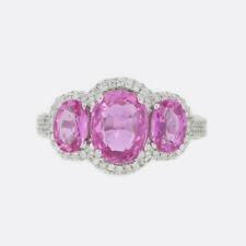 2.25 Carat Pink Sapphire and Diamond Three Stone Ring 18ct White Gold