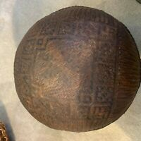 "Antique globular Asian bamboo lidded basket  12.5""diameter.  Hinged lid."