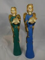 Pair Christmas Angels Tall Pencil Figurines Resin  Green Blue Gold Harp