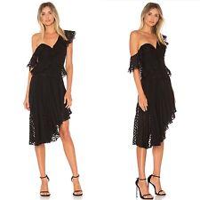 Bardot Senorita Dress Revolve Size M 8 Black One Shoulder Ruffle Sold Out