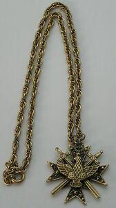 Vintage Signed Coro Glory Necklace Maltese Cross, Eagle, Crossed Swords Pendant