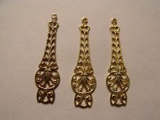 STUNNING VINTAGE BRASS FILIGREE DROPS